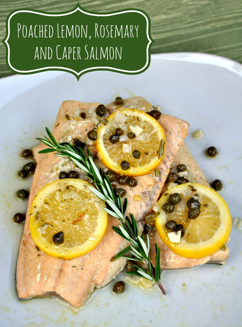 Making dinner from frozen seafood is convenient for busy nights! Give it a try with this easy recipe for poached salmon with lemon, rosemary and capers.