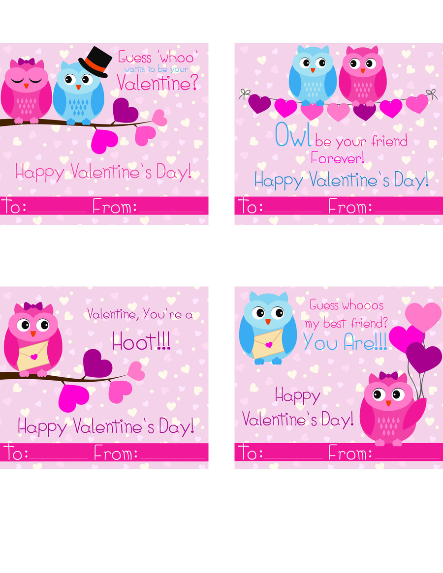 Free Owl Printable Valentines Day Cards - Happy Mothering