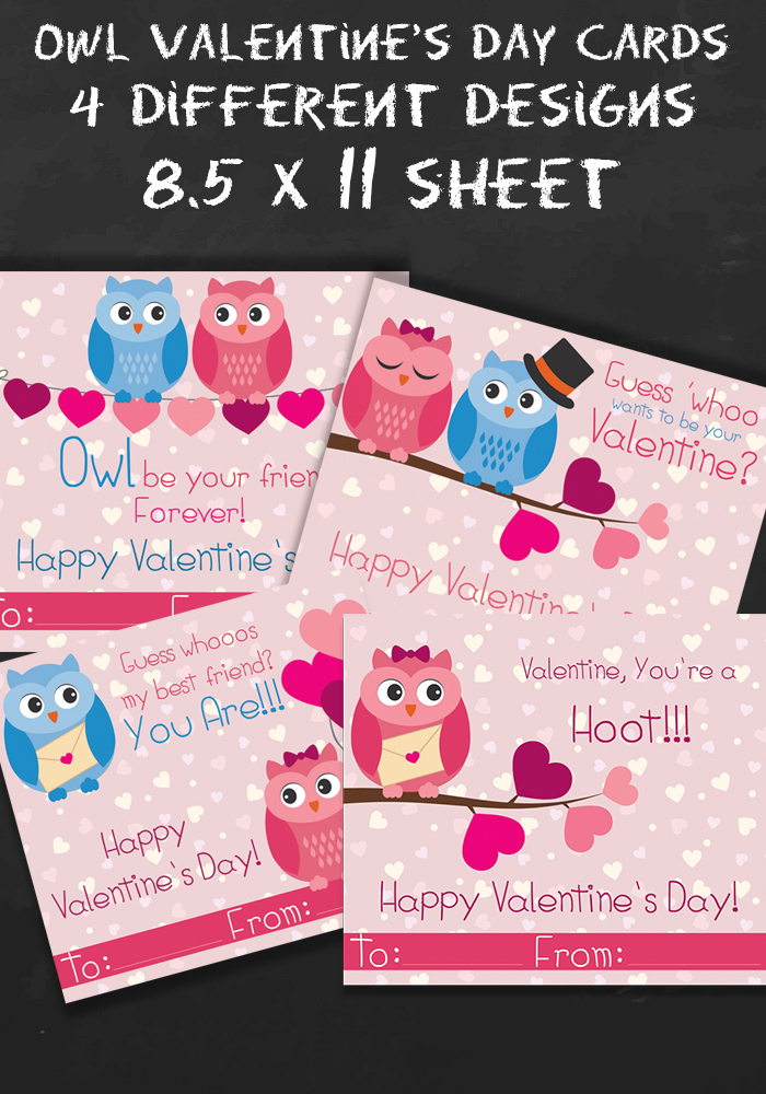 Free Owl Printable Valentines Day Cards Happy Mothering