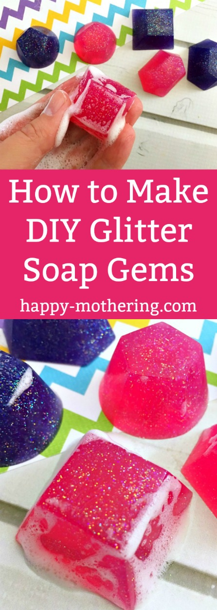 Looking for a unique handmade gift idea? These Sparkly DIY Glitter Soap Gems make a perfect gift for the pretty princess in your life (even if that's YOU)!