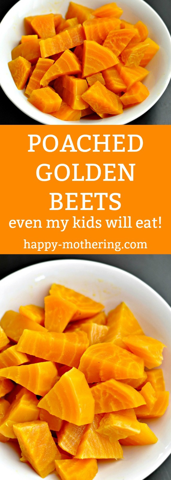 Are you looking for a way to cook beets your whole family will love? These Poached Golden Beets are tender and full of flavor. Even my kids will eat them!